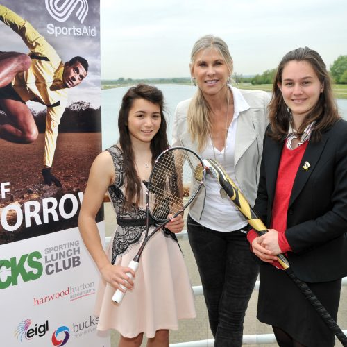 Sharron Davies MBE (centre) with Amy Jones (left) and Georgie Whitaker